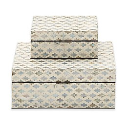 Ridge Road Décor 2-Piece Lattice Shell Inlay Box Set