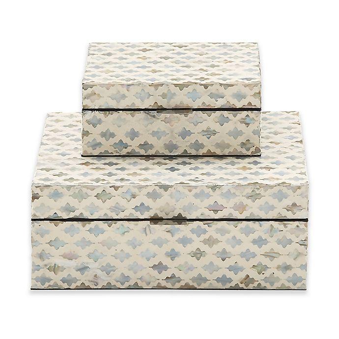Alternate image 1 for Ridge Road Décor 2-Piece Lattice Shell Inlay Box Set