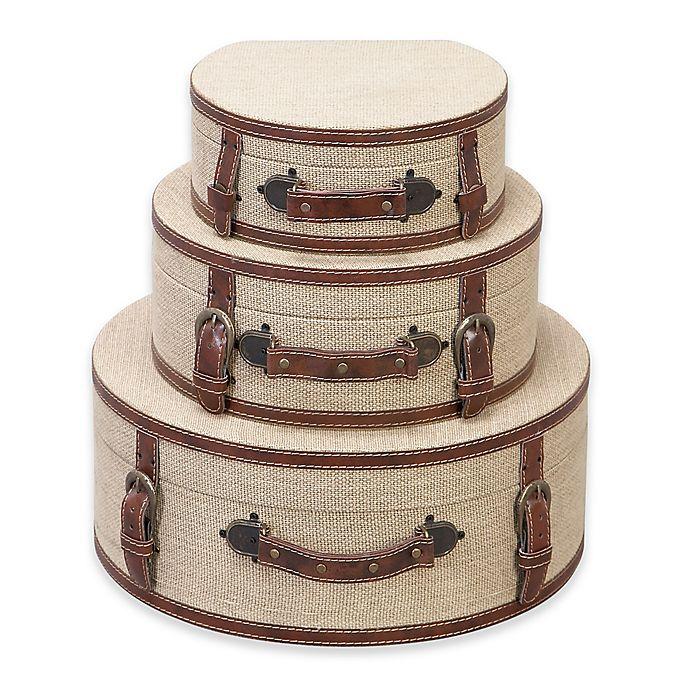 Ridge Road Deacutecor 3 Piece Burlap Hat Box Set In Beige Bed