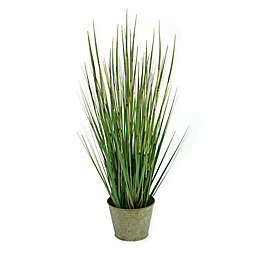 D&W Silks 31-Inch Onion Grass in Metal Planter