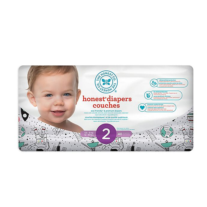 Alternate image 1 for Honest 40-Count Size 2 Diapers in Space Traveling Pattern