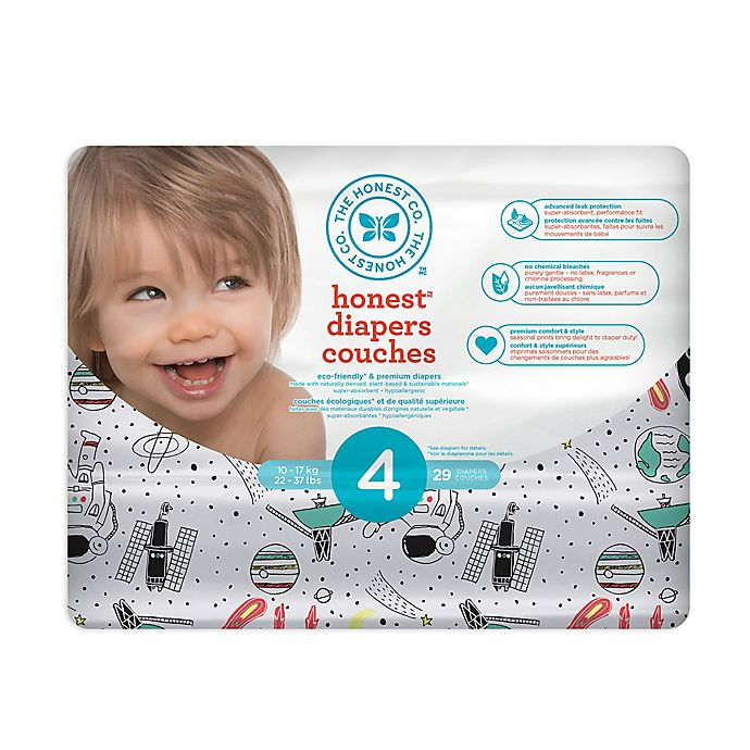 Alternate image 1 for Honest 29-Pack Size 4 Diapers in Space Traveling Pattern