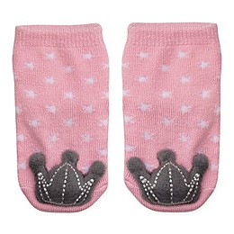 Cuddl Duds® Size 0-6M Crown Rattle Socks in Pink