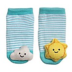 Cuddl Duds® Size 0-6M Cloud and Sun Rattle Socks in Blue