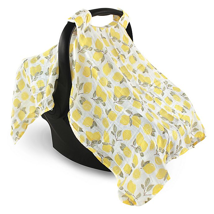 Alternate image 1 for Hudson Baby® Muslin Lemons Car Seat Canopy in Yellow