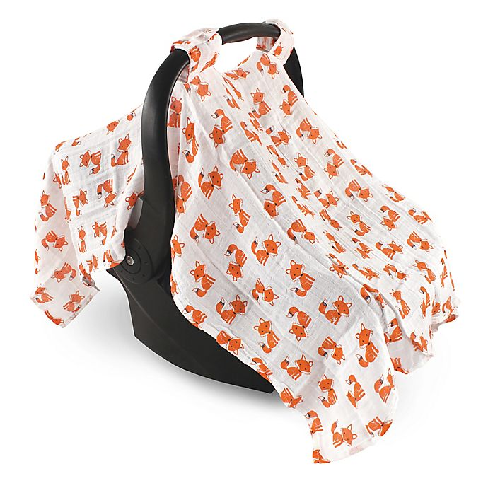 Alternate image 1 for Hudson Baby® Muslin Foxes Car Seat Canopy in Orange