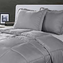 Clean Living Stain/Water Resistant 2-Piece Twin/Twin XL Comforter Set in Silver