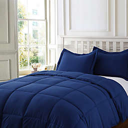Clean Living Stain/Water Resistant 3-Piece King Comforter Set in Navy