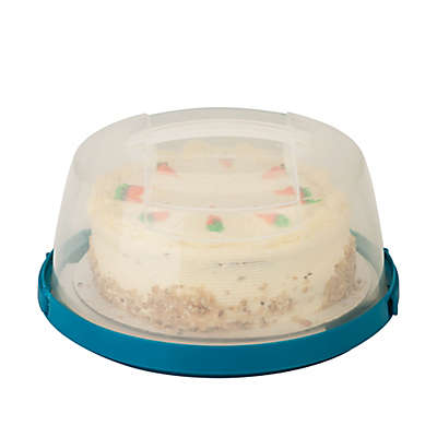 Honey-Can-Do® 10-Inch Round Cake Carrier in Clear/Blue