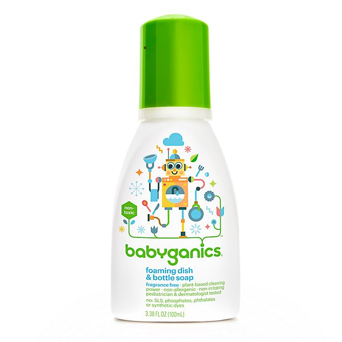 Alternate image 1 for Babyganics® 3.38 oz. Fragrance-Free Foaming Dish & Bottle Soap