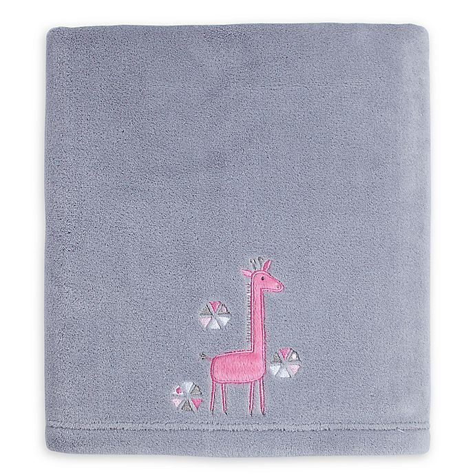 Alternate image 1 for Little Love by NoJo® Giraffe Time Fleece Blanket in Grey/Pink