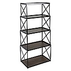 4-Piece Nesting Stackable Shelving Unit in Black