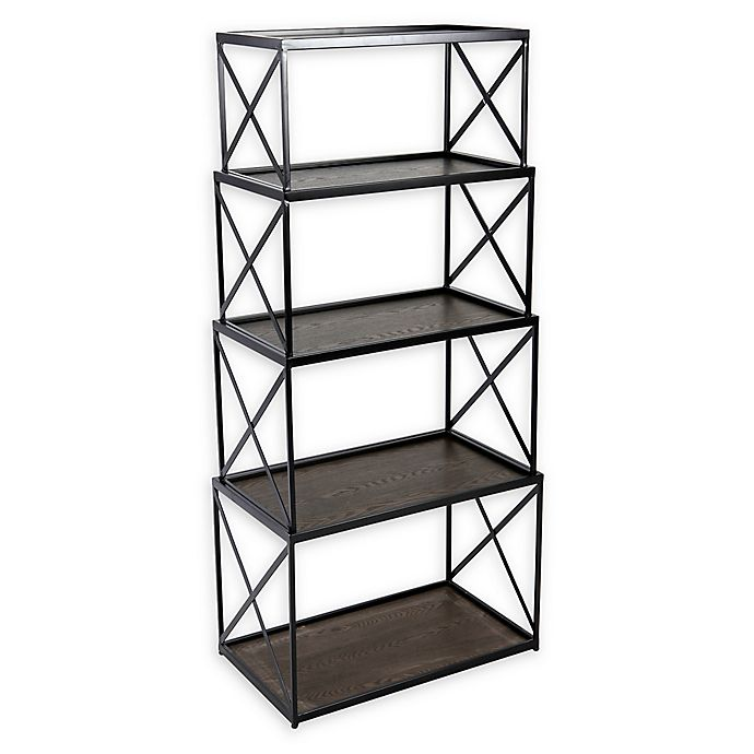 Alternate image 1 for 4-Piece Nesting Stackable Shelving Unit in Black