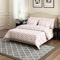 Brielle Circlets 3-Piece King Duvet Cover Set in Red
