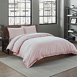 Garment Washed Paisley Printed 2-Piece Twin/Twin XL Duvet Cover Set in Coral