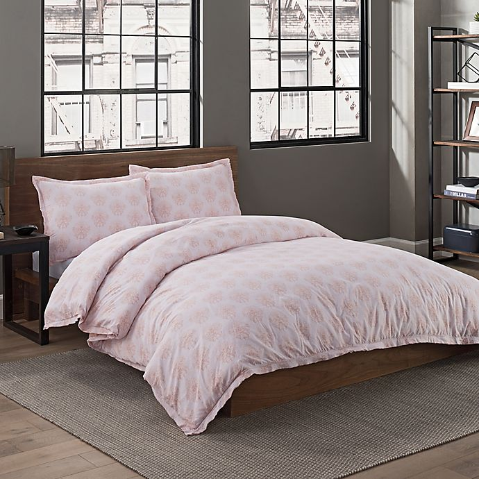 Alternate image 1 for Garment Washed Cotton Dot Printed King Duvet Cover Set in Blush