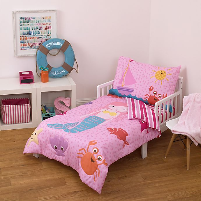 little tikes mermaid 4 piece toddler bedding set bed bath beyond. Black Bedroom Furniture Sets. Home Design Ideas