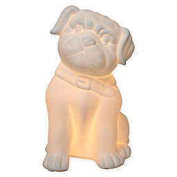 Simple Designs Porcelain Puppy Dog Table Lamp in White