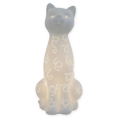 Simple Designs Porcelain Kitty Cat Lamp in White