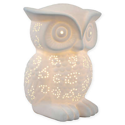 Simple Designs Porcelain Wise Owl Table Lamp in White