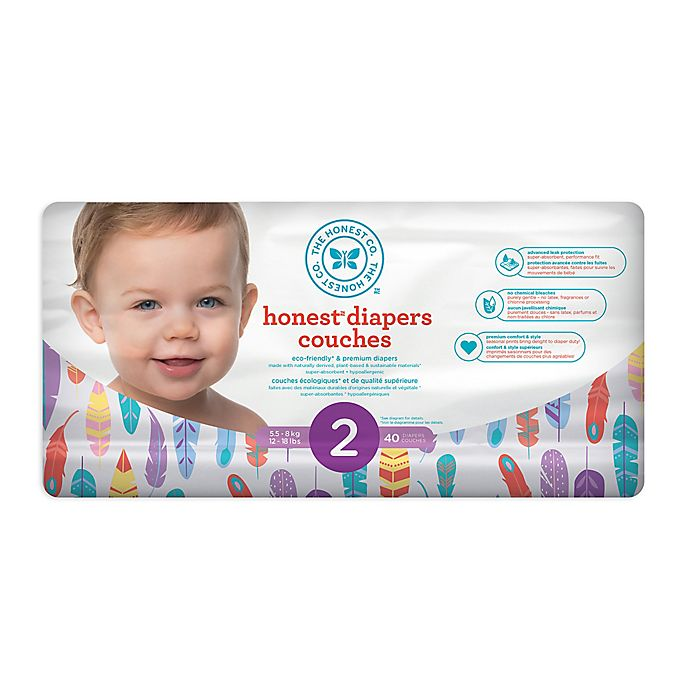 Alternate image 1 for Honest 40-Count Size 2 Diapers in Painted Feathers Pattern