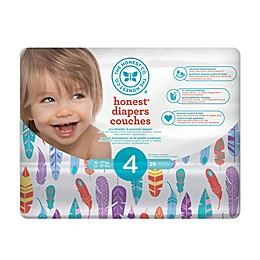 Honest 29-Pack Size 4 Diapers in Painted Feathers Pattern