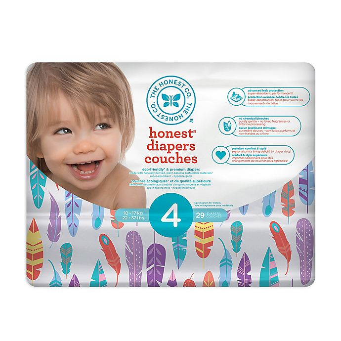 Alternate image 1 for Honest 29-Pack Size 4 Diapers in Painted Feathers Pattern