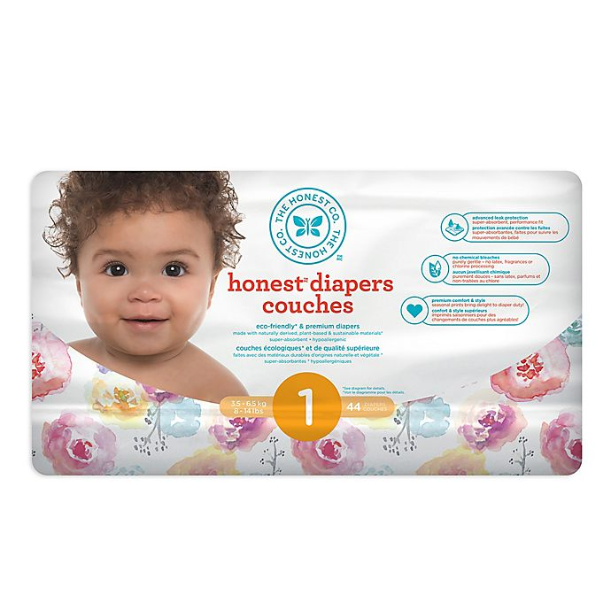 Alternate image 1 for Honest 44-Count Size 1 Diapers in Rose Blossom Pattern
