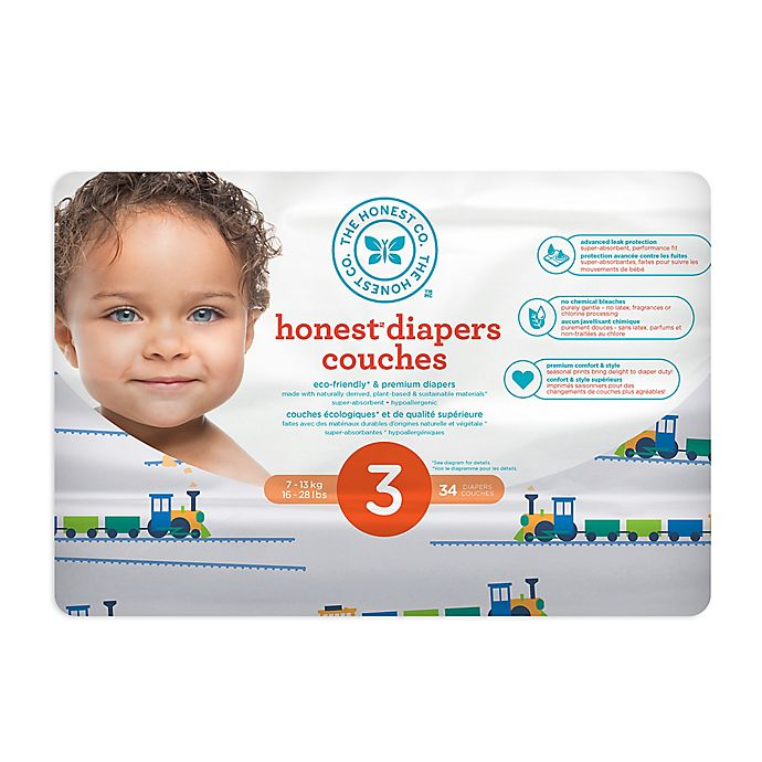 Alternate image 1 for Honest 34-Count Size 3 Diapers in Trains Pattern