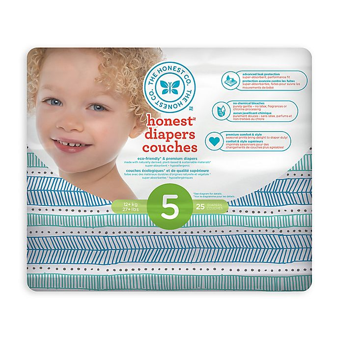 Alternate image 1 for Honest 25-Count Size 5 Diapers in Tribal Pattern