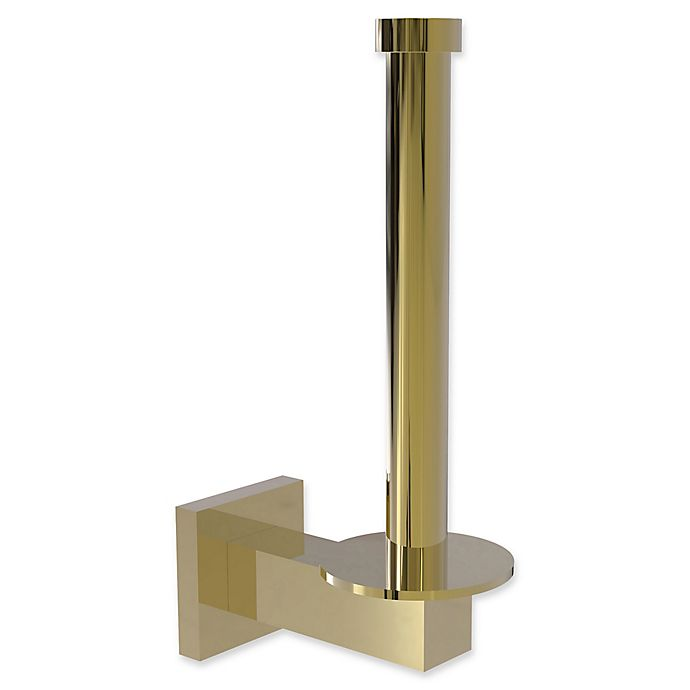 Alternate image 1 for Allied Brass Montero Upright Toilet Paper Holder and Reserve Roll Holder in Unlacquered Brass