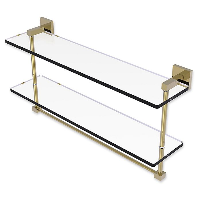 Alternate image 1 for Allied Brass Montero 22-Inch Double Glass Shelf with Integrated Towel Bar in Unlacquered Brass