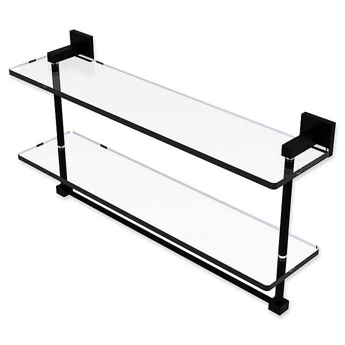 Alternate image 1 for Allied Brass Montero Collection 22-Inch 2-Tiered Glass Shelf with Towel Bar in Matte Black