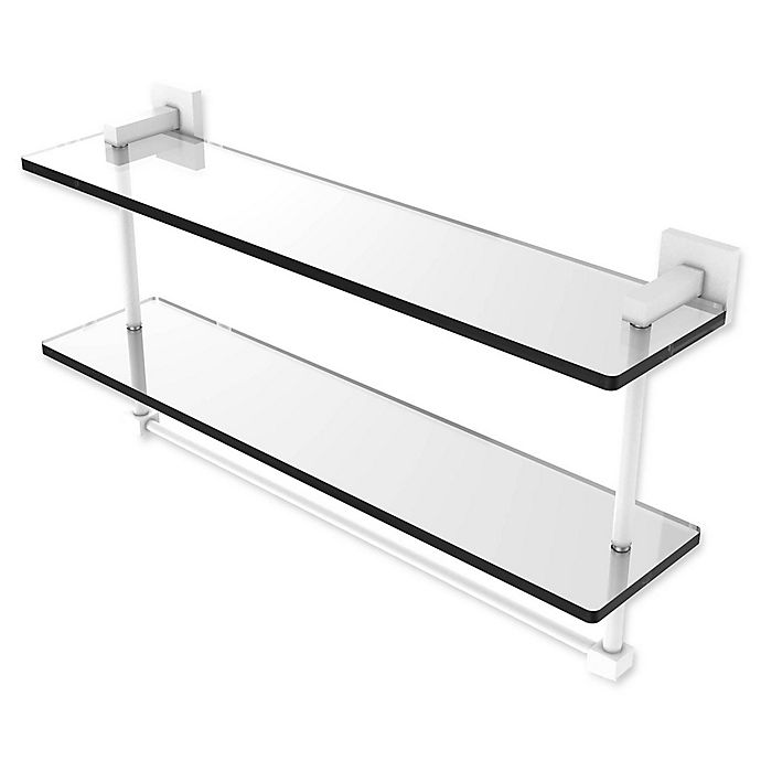 Alternate image 1 for Allied Brass Montero Collection 22-Inch 2-Tiered Glass Shelf with Towel Bar in Matte White