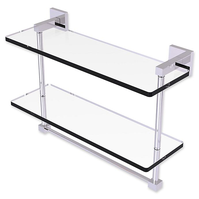 Alternate image 1 for Allied Brass Montero Collection 2-Tiered Glass Shelf with Towel Bar