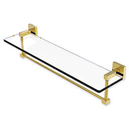 Allied Brass Montero Collection 22-Inch Glass Vanity Shelf with Towel Bar in Polished Brass