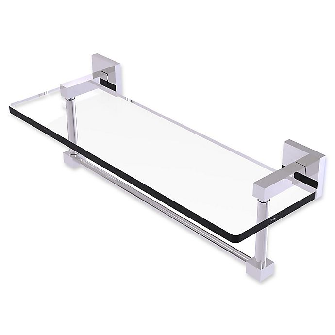 Alternate image 1 for Allied Brass Montero Collection 16-Inch Glass Vanity Shelf with Towel Bar in Polished Chrome