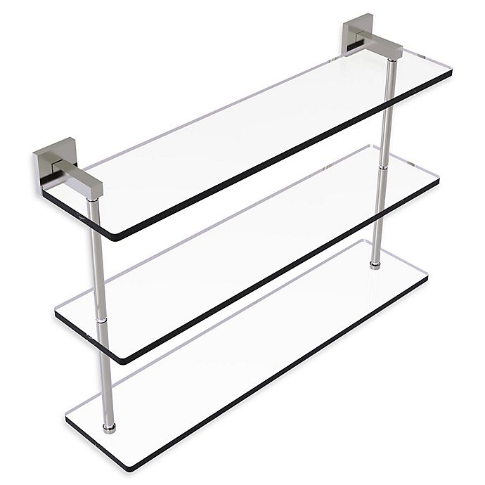 Alternate image 1 for Allied Brass Montero Collection 22-Inch Triple-Tiered Glass Shelf in Satin Nickel