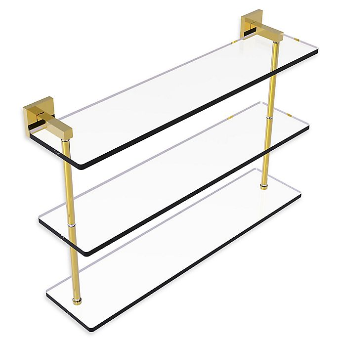 Alternate image 1 for Allied Brass Montero Collection 22-Inch Triple-Tiered Glass Shelf in Polished Brass