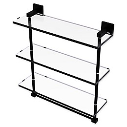 Allied Brass Montero Collection 16-Inch Triple Glass Shelf with integrated towel bar