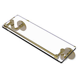 Allied Brass Remi Collection 16-Inch Glass Vanity Shelf with Gallery Rail in Unlacquered Brass