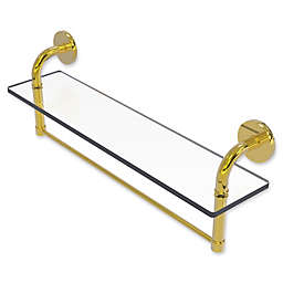 Allied Brass Remi Collection 22-Inch Glass Vanity Shelf with Integrated Towel Bar in Polished Brass