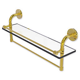 Allied Brass Remi Collection 22-Inch Gallery Glass Shelf with Towel Bar in Polished Brass