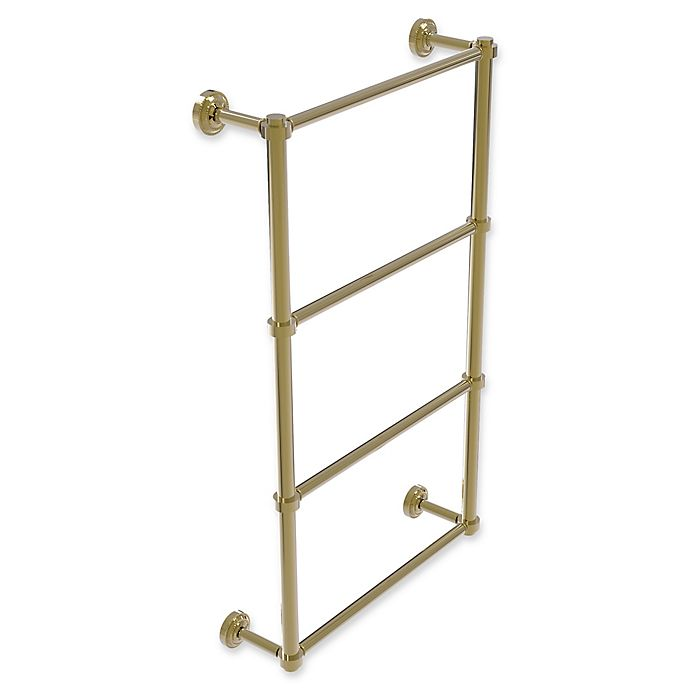 Alternate image 1 for Allied Brass Dottingham Collection 4-Tier 30-Inch Ladder Towel Bar in Unlacquered Brass