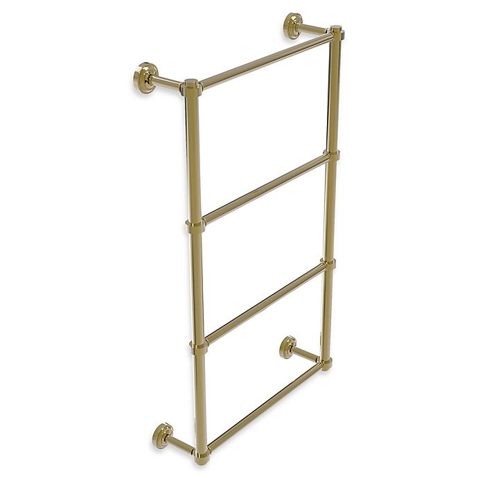 Alternate image 1 for Allied Brass Dottingham Collection 4-Tier 24-Inch Ladder Towel Bar in Unlacquered Brass