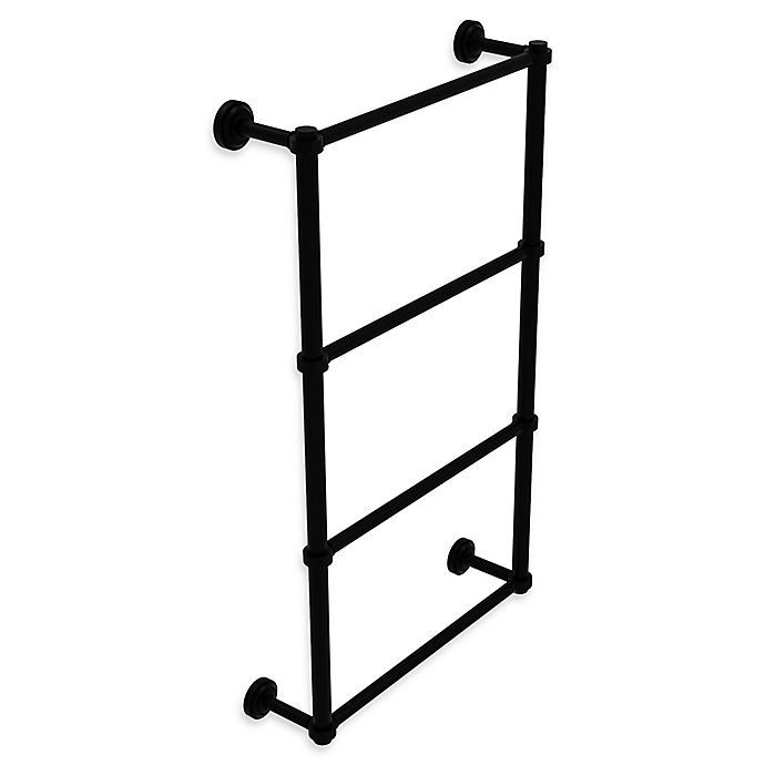 Alternate image 1 for Allied Brass Dottingham 4-Tier 30-Inch Ladder Towel Bar with Groovy Detail in Matte Black