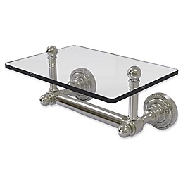 Allied Brass Dottingham Collection 2-Post Toilet Paper Holder with Glass Shelf
