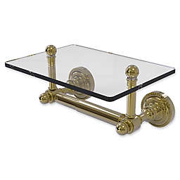 Allied Brass Dottingham 2-Post Toilet Paper Holder with Glass Shelf in Unlacquered Brass
