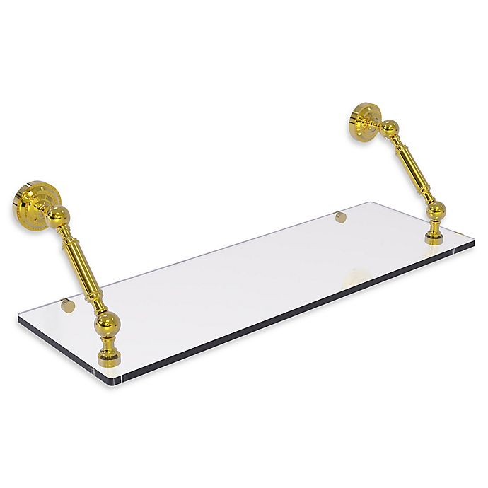 Alternate image 1 for Allied Brass Dottingham Collection 24-Inch Floating Glass Shelf in Polished Brass
