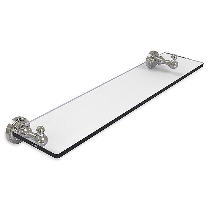 Alternate image 1 for Allied Brass Dottingham 22-Inch Glass Vanity Shelf with Beveled Edges in Satin Nickel